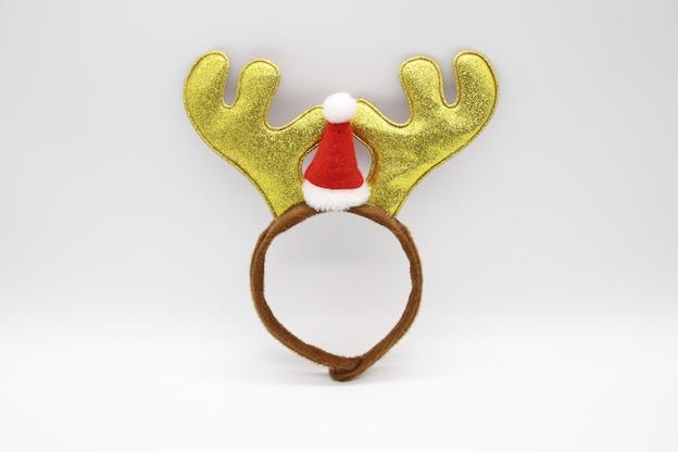 HPCM200403 Chrismas Headband Costume Party Gold Antler Shape with a mini Chrismas hat