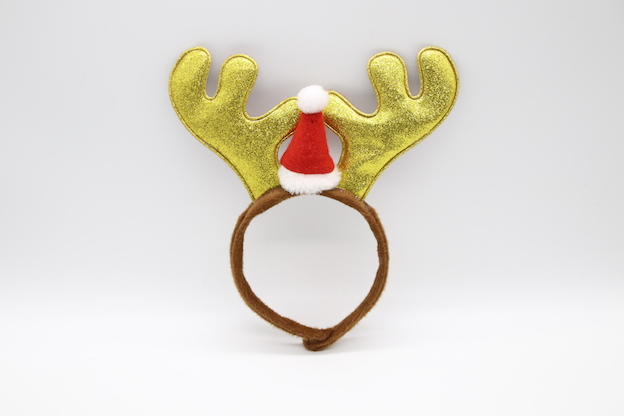 HPCM200403 Chrismas Headband Costume Party Gold Antler Shape with a mini Chrismas hat