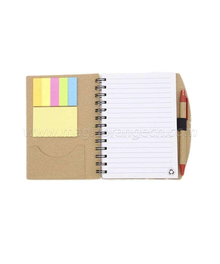 BK1041 A5 spiral notebook sticky pad namecard holder with pen