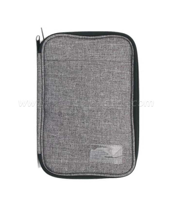 BG2015 Grey Imitation Hemp Fabric Bag Electronic Accessories Case Portable Double Layer Cable Storage Bag for Cord, Charger, Flash Drive, SD Card