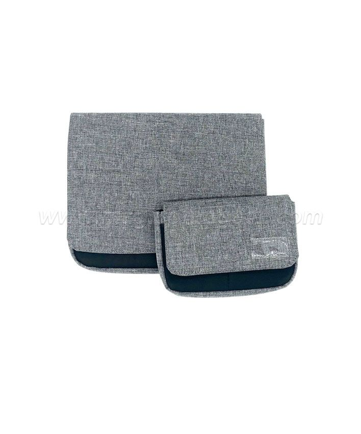 BG2014 Grey Imitation Linen Fabric Flap Bag Storage Bag Large size