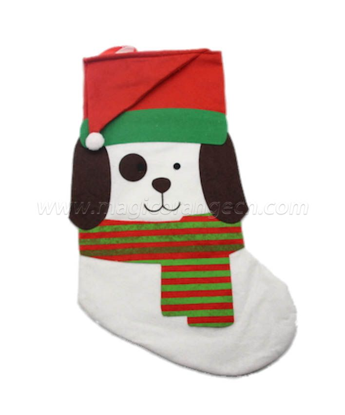 HPCM1005 Green White Christmas stocking with different characters