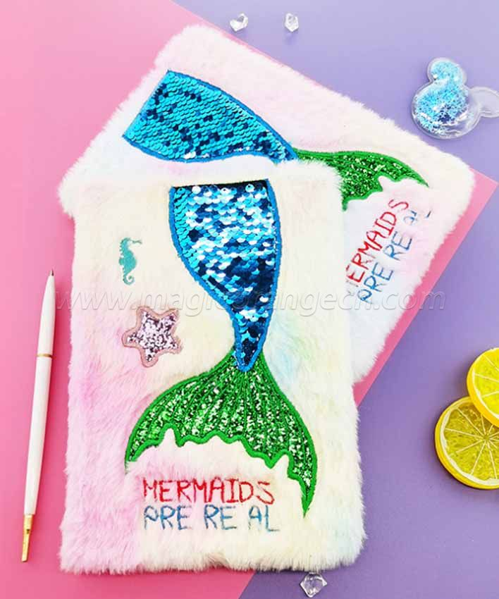 BK1049 Mermaid Tail Plush Notebook