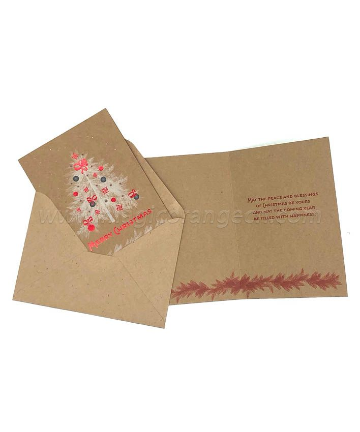 BK1045 Merry Christmas Greeting Cards Kraft Paper