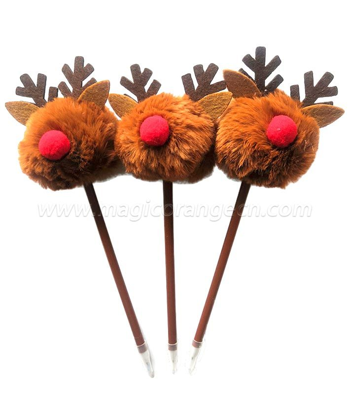 PN1304 Elk Gift Pen Colorful Fluffy Ball Pen for Chrismas Party Supplies