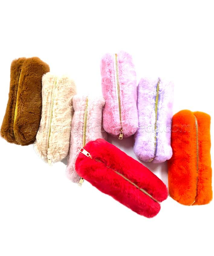 BG2018 Fluffy Pencil Bag Stationery Storage Bag Women Cosmetic Bag Makeup Case Makeup Bags