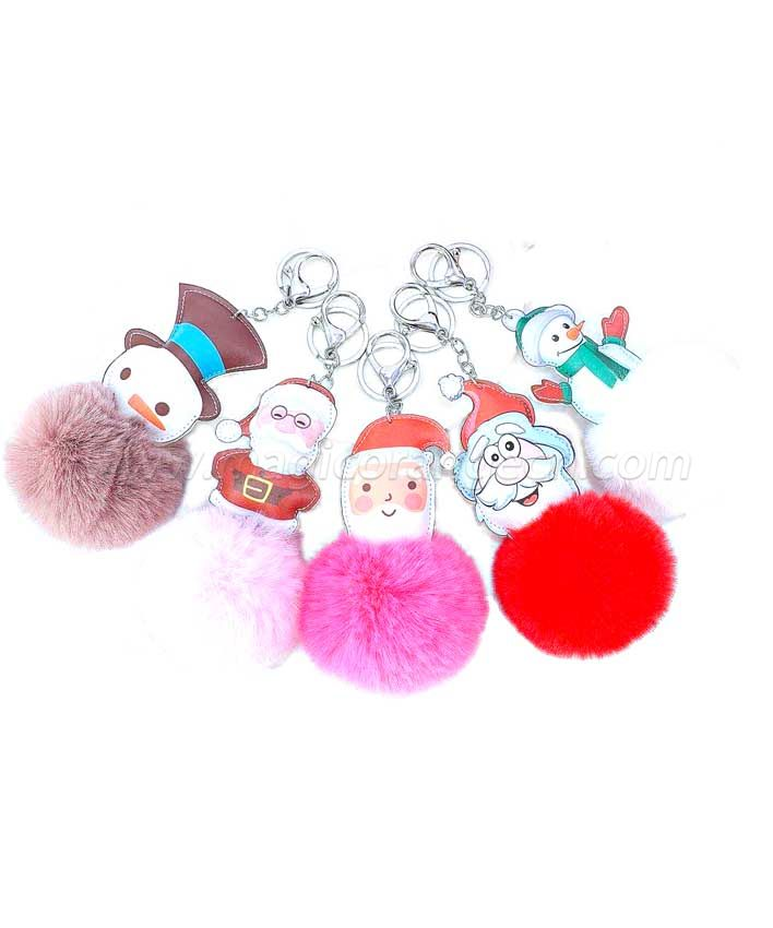 BG2029 Christmas Pom Pom Key Ring Snowman Santa