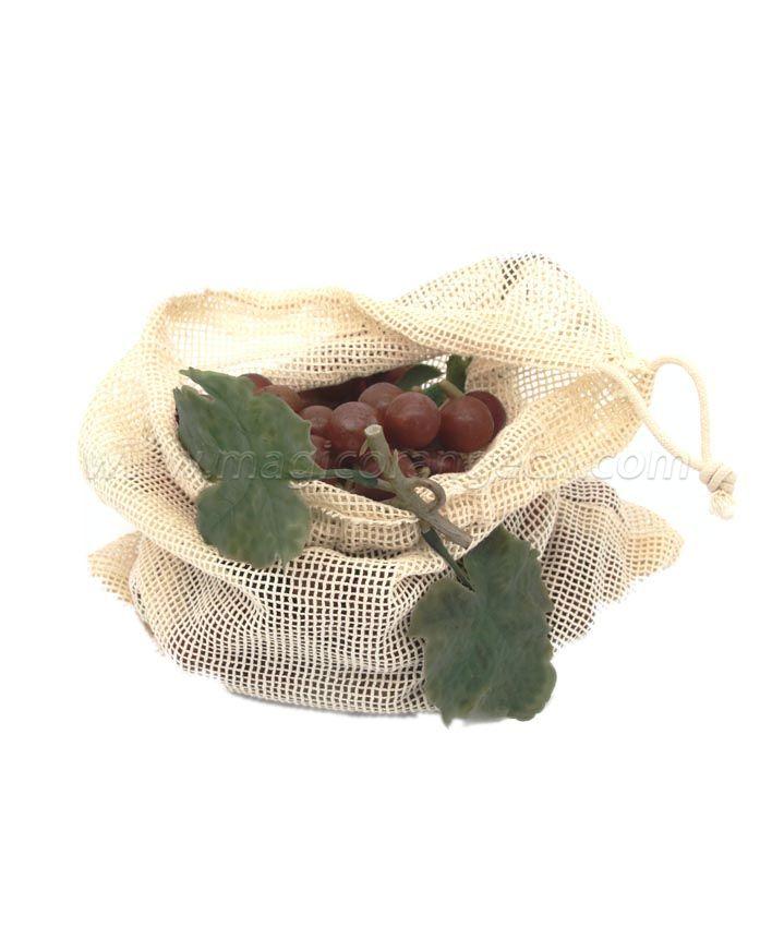 BG2031 Cotton mesh bag with Drawstring Reusable Grocery Bag for Shopping & Storage, Washable