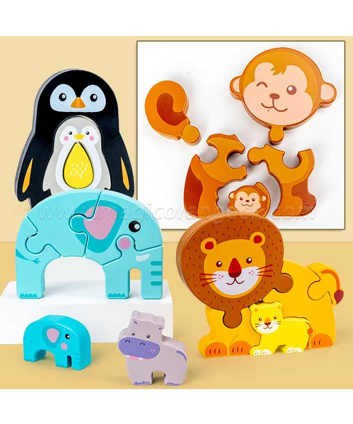 CTY1003 Wooden Animal Jigsaw Puzzles, Toy for 2+ Years Kids, Fine Color Recognition Early Educational Preschool Learning Toy, 6 Pack Animals - Best Gift