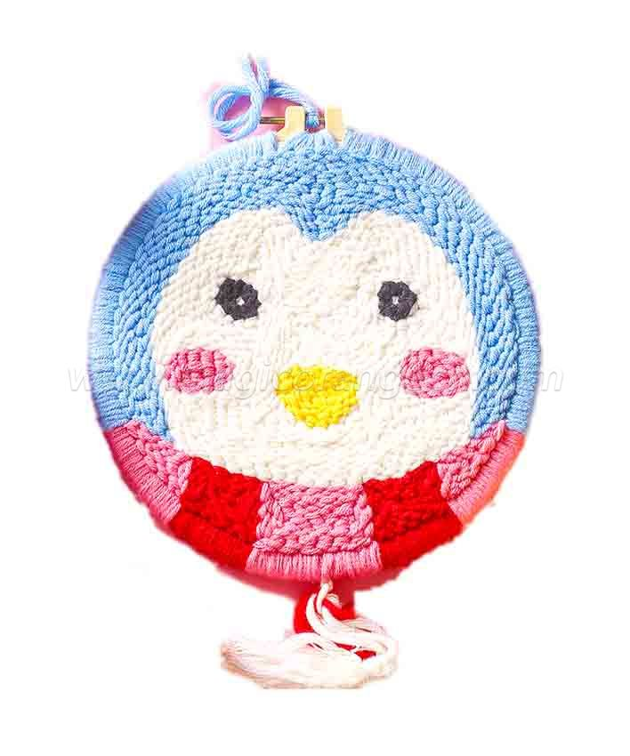 CTY100814 Penguin Punch Needle Embroidery Starter Kit for Adults Kids Beginner