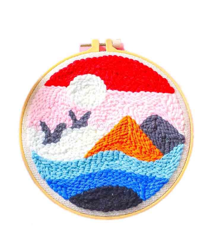 CTY100815 Scenery Landscape Punch Needle Embroidery Starter Kit for Adults Kids Beginner