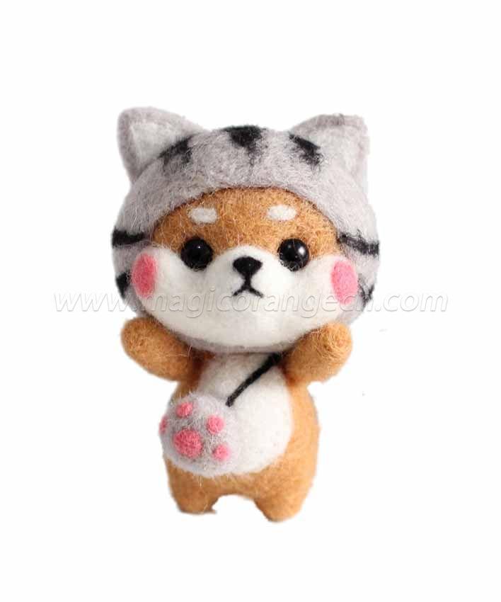 CTY101003 Shiba Inu Needle Felting Kit Handmade Animal Doll Needle Felting Wool Felting Kit Non Finished DIY Handcraft Material Set