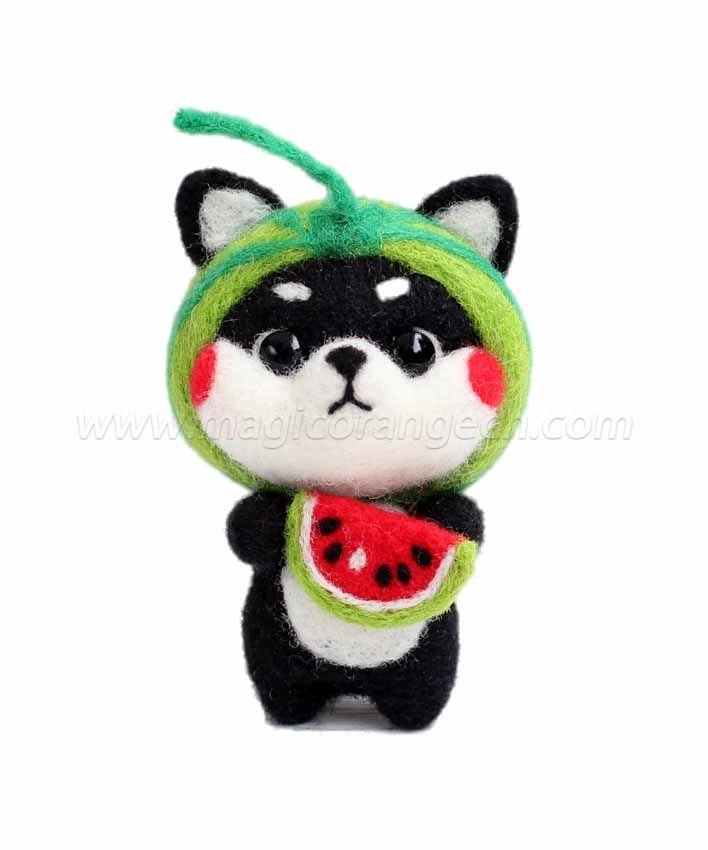 CTY101004 Black Shiba Inu Needle Felting Kit Handmade Animal Doll Needle Felting Wool Felting Kit
