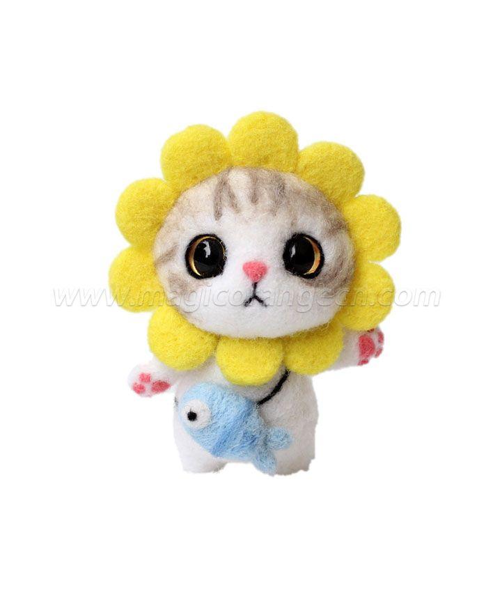 CTY101005 Lovely Cat Needle Felting Kit Handmade Animal Doll Needle Felting Wool Felting Kit