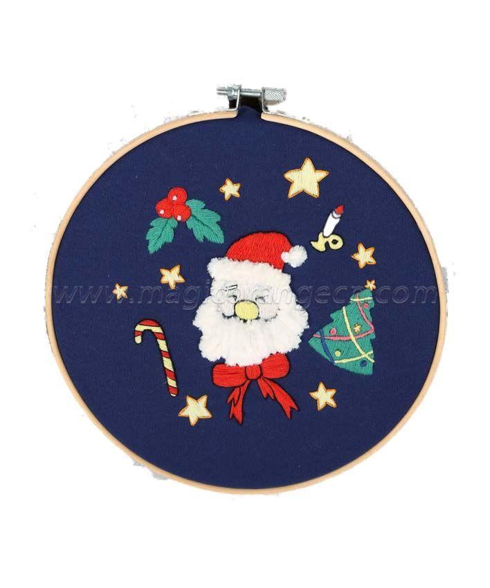 CTY100902 Christmas Series Embroidery Starter Kit with Pattern and Instructions, Embroidery Hoops, Color Threads and Tools
