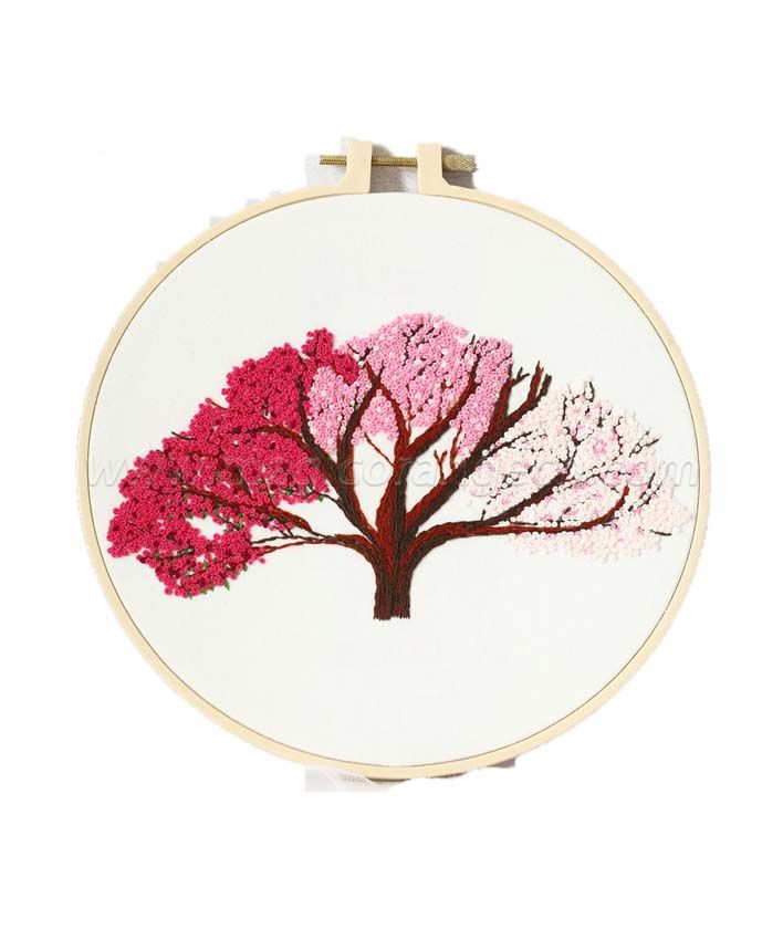 CTY100903 Peach Tree Embroidery Starter Kit with Pattern and Instructions, Embroidery Hoops, Color Threads and Tools