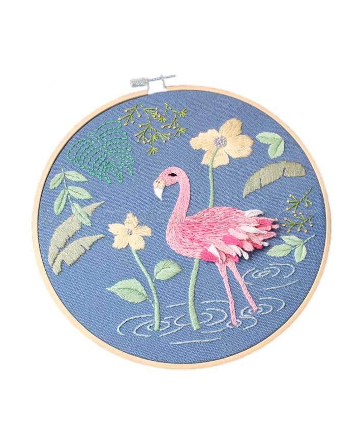CTY100904 Flamingo Embroidery Starter Kit with Pattern
