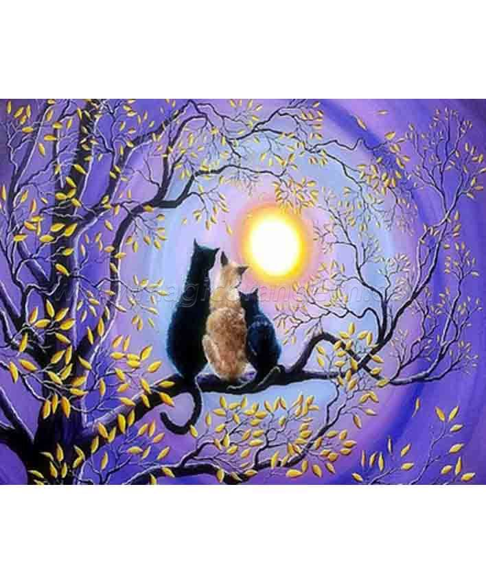 CTY101204 Cat in Moonlight DIY 5D Diamond Painting Kits for Adults Rhinestone Gem Art Painting Full Drill Round Diamond, Perfect for Home Wall Decorate