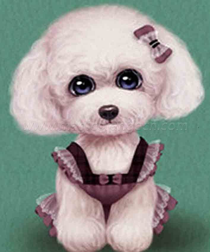 CTY101205 Poodle DIY 5D Diamond Painting Kits for Adults Rhinestone Gem Art Painting Full Drill Round Diamond, Perfect for Home Wall Decorate