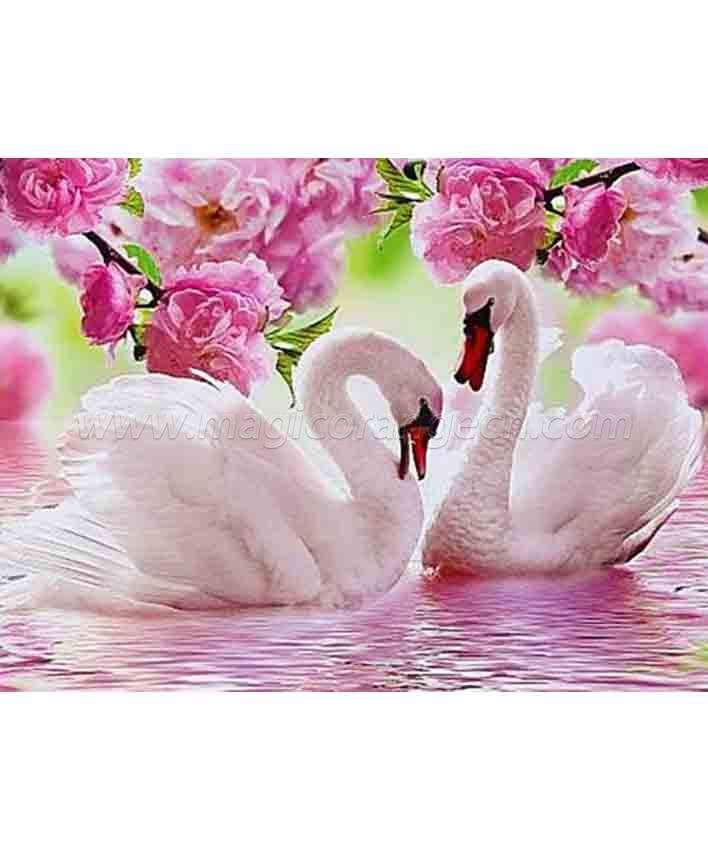 CTY101207 Swan DIY 5D Diamond Painting Kits for Adults Rhinestone Gem Art Painting Full Drill Round Diamond, Perfect for Home Wall Decorate