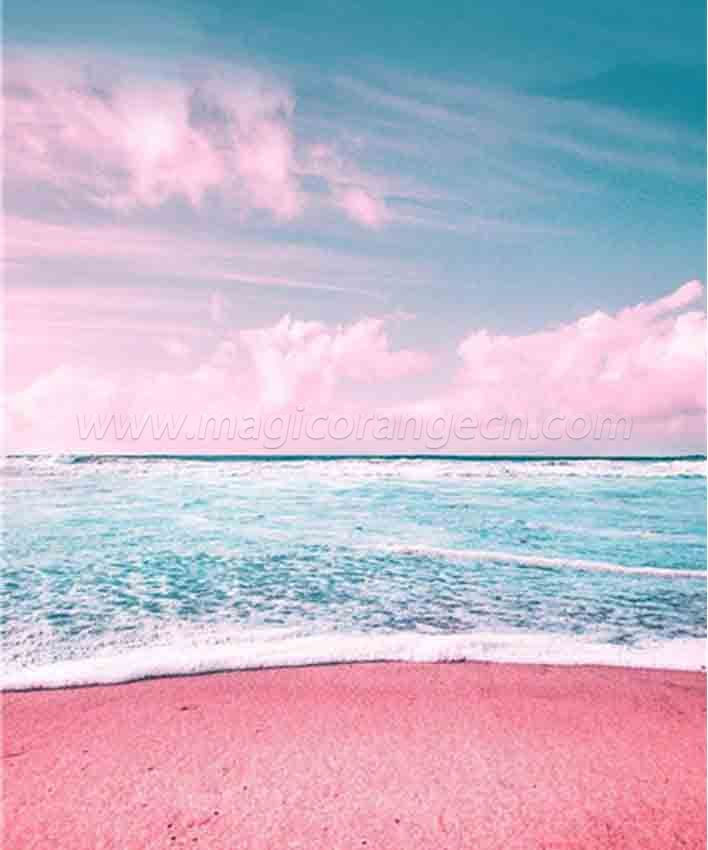 CTY101213 Pink Beach DIY 5D Diamond Painting Kits for Adults Rhinestone Gem Art Painting Full Drill Round Diamond, Perfect for Home Wall Decorate