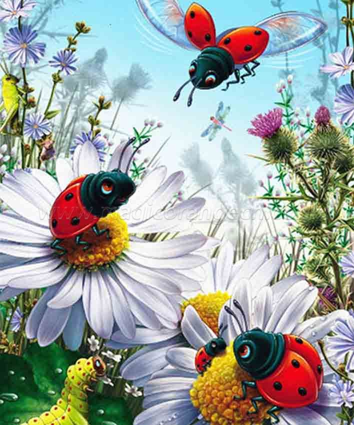 CTY101218 Ladybug W/Flower Painting DIY 5D Diamond Painting Kits for Adults Rhinestone Gem Art Painting Full Drill Round Diamond, Perfect for Home Wall Decorate