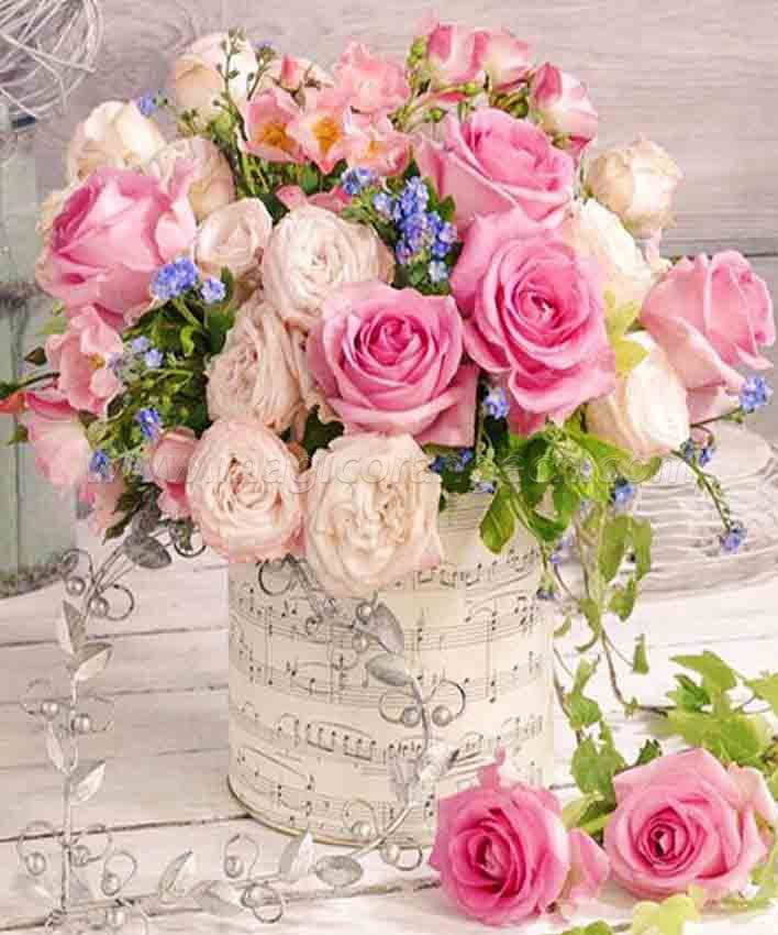 CTY101220 Flower in vase Painting DIY 5D Diamond Painting Kits for Adults Rhinestone Gem Art Painting Full Drill Round Diamond, Perfect for Home Wall Decorate